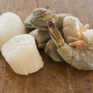 Seafood Pasta With Mushroom Cream Sauce.
