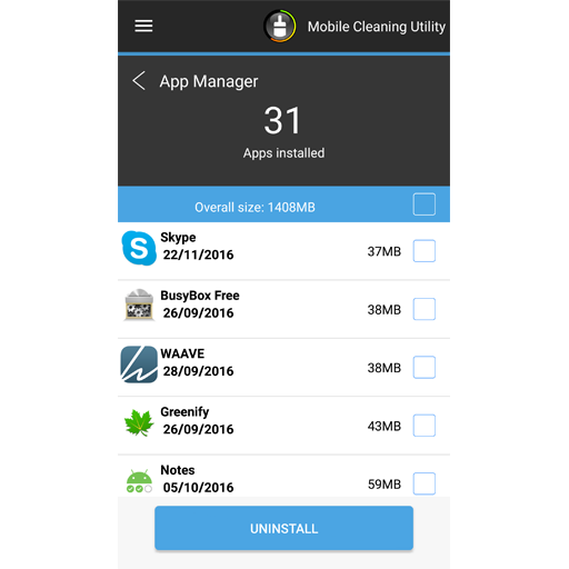 Mobile Cleaning Utility- screenshot
