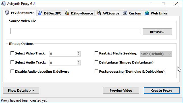 thumbapps.org Avidemux portable, Avisynth Proxy GUI