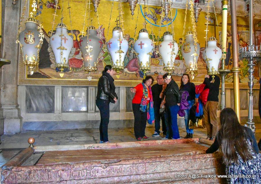 Камень миропомазания. Экскурсия с гидом Светланой Фиалковой в Храме Гроба Господня. Иерусалим.