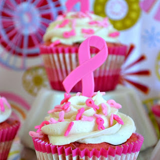 Breast Cancer Awareness Cherry Vanilla Cupcakes.