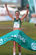 Gerda Steyn celebrates her win of the 2019 Old Mutual Two Oceans Ultra Marathon last year. The race has been canned.