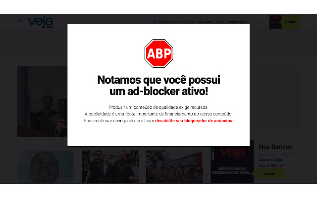 Remove bloqueador de anúncios da Abril