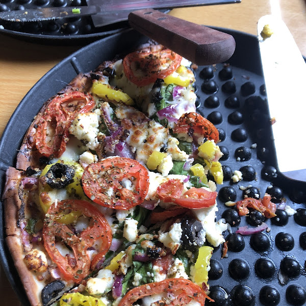 In my opinion, Best Gluten Free Pizza, Greek Pizza at Merlins!!  Our Server was knowledgeable and friendly, thanks Linda P.