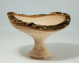 "Photo: BILL LONG – 7.5"" x 5"" Natural-Edge Bowl [Cherry] -- chuck tenon not yet removed"