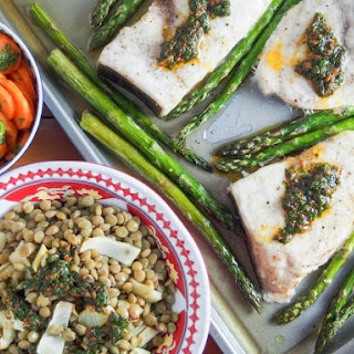 Baked swordfish and asparagus with lentils and chermoula #SundaySupper.
