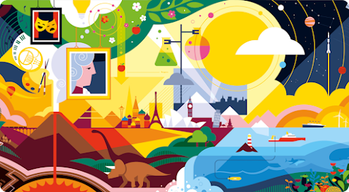 A colorful illustration of red and brown mountains, an orange dinosaur, a yellow sky with a big sun. A body of water with a mountain peak, flowers, and a boat. A night sky with stars and yellow rings