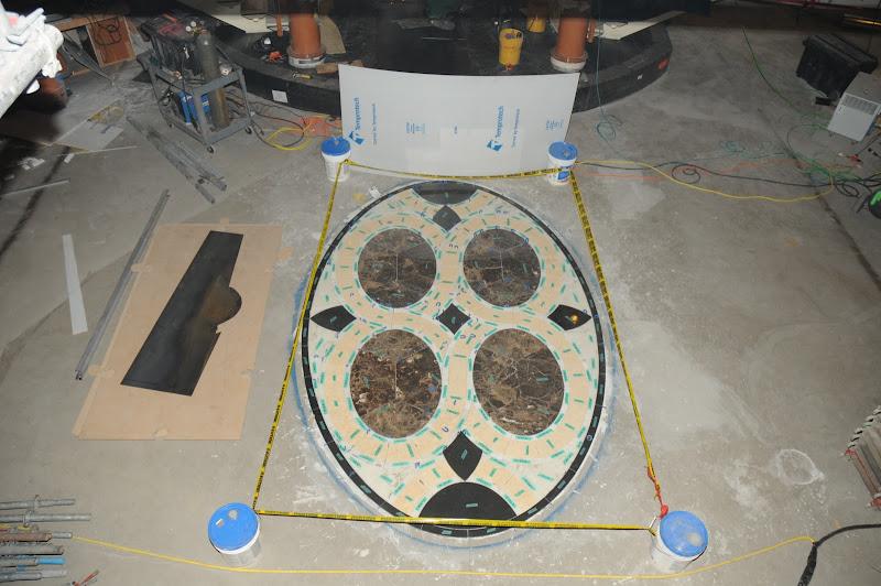 Photo: Sapphire Princess Drydock Update -- January 15: The Atrium is getting an artistic new flooring design.