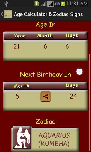 Age Calculator Zodiac Signs