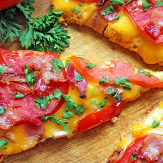 Cheesy Jersey Tomato Bacon Flatbread.