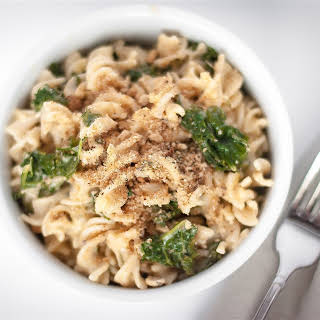 A FROMENT FREE KALE AND CHEESE PASTA.