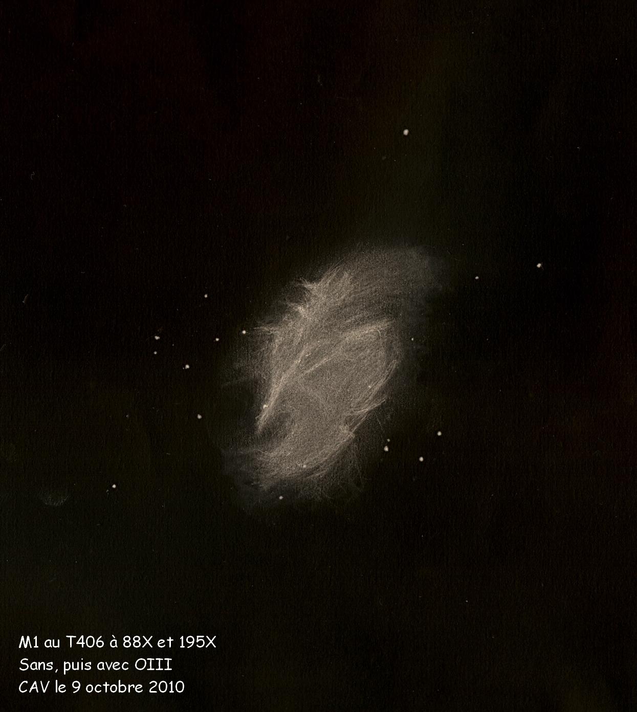Photo: M1, nébuleuse du Crabe, rémanent de supernovae. Les parties qui apparaissent plus marquées ont été vues avec le filtre OIII.