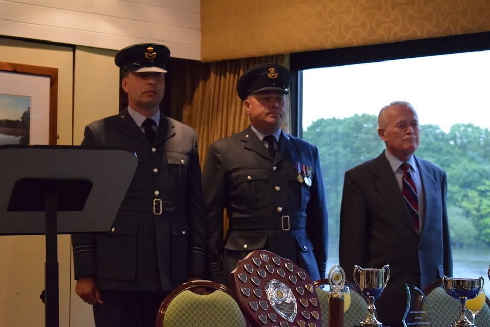 Flight Lieutenant Giles Vince RAFVR(T), Officer Commanding 2497 (Cosford) Squadron; Squadron Leader John Smith RAFVR(T), Guest of Honour; and Don Rhodes, Squadron Civilian Committee Chairman at Presentation Evening