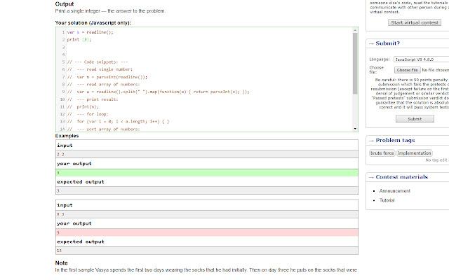 Codeforces Javascript Extension