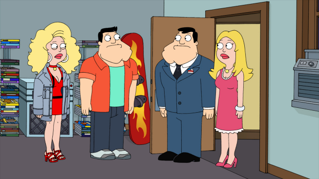 "Photo: AMERICAN DAD: Stan and Francine travel back in time to find out who Francine hooked up with in the all-new ""The Kidney Stays In The Picture"" episode of AMERICAN DAD airing Sunday, April 1 (9:30-10:00 PM ET/PT) on FOX.  AMERICAN DAD ™ and © 2012 TCFFC ALL RIGHTS RESERVED."