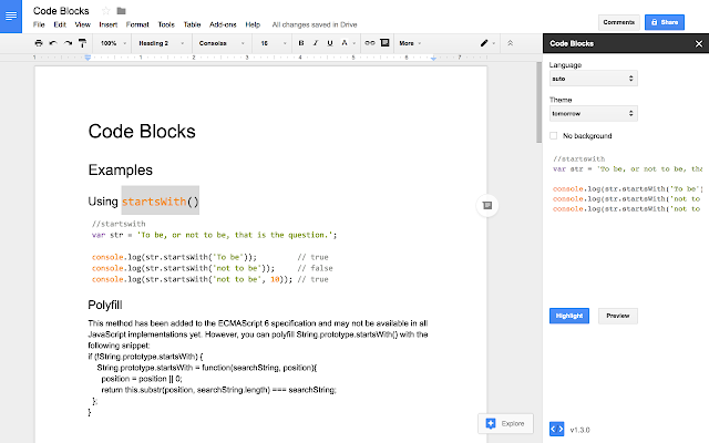 Code Blocks - G Suite Marketplace
