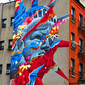 New York City Little Italy by Hal Gonzales - City,  Street & Park  Neighborhoods ( mural, liberty, street scene, nyc, street photography )