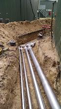 Photo: RVS leidingen voor heet water en digestaat. Coevorden.