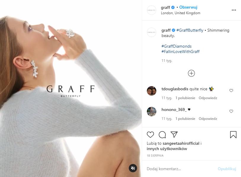 Materiał promocyjny marki Graff na IG (screen)