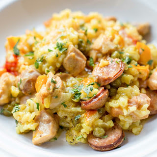 Pressure Cooker Weeknight Paella with Chicken and Sausage.