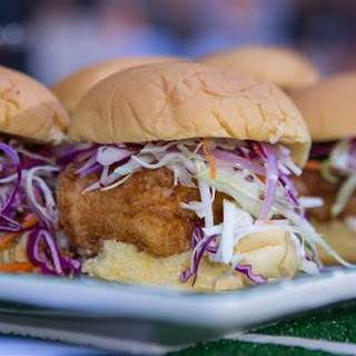 Crispy Cod Sandwiches with Pickle Sauce and Slaw.