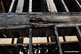 Photo: Fire damaged joist rim and wall plates that need to be replaced.