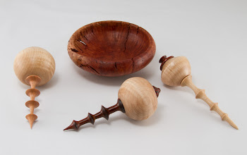 "Photo: Stan Wellborn 2"" x 6"" ornaments [cocobolo, maple, cherry] bowl [manzaneta burl]"