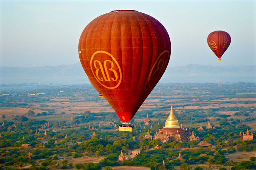Myanmar-Bagan - Floating over fields and temples in Bagan, each spectacular in its own way.