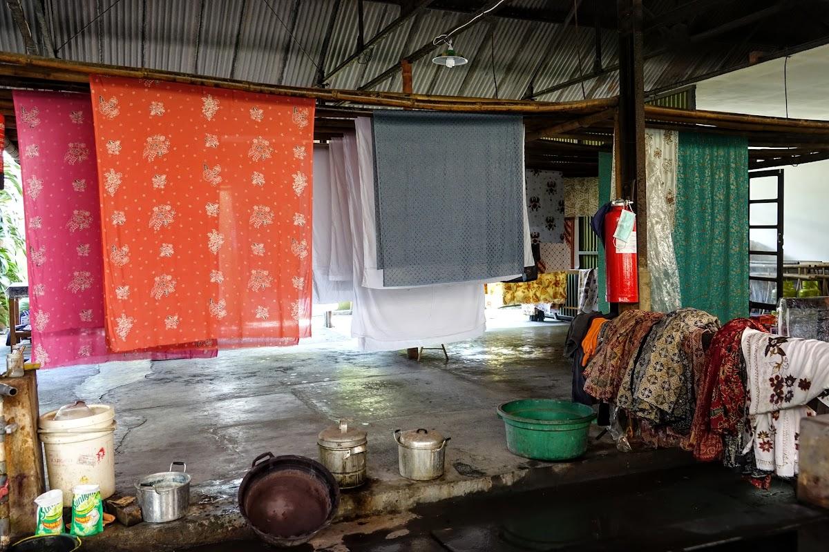 Indonesia. Crafts . Batik Sheet Drying