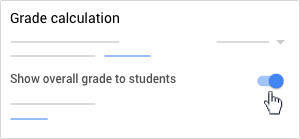 Show overall grade to students - Switched on
