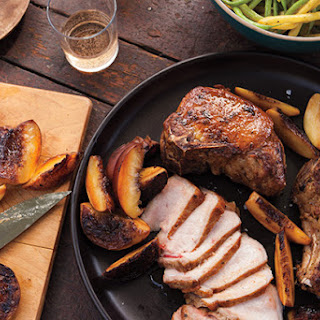 Grilled Pork Chops with Peaches and Pole Beans.