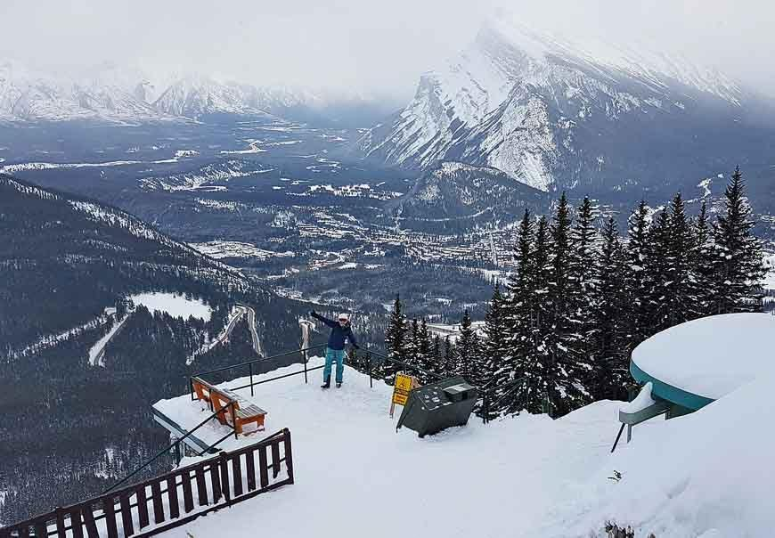 A winter view from just below the Cliffhouse Bistro at Mount Norquay