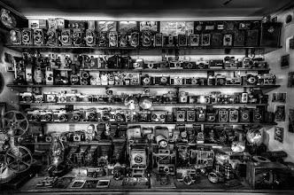 Photo: A nice collection of classic cameras on display at the bed and breakfast we stayed at in Cape Town. One of the owners mentioned the he had owned some camera shops in the past so he must have accumulated all these great pieces over many years. Processing this image in Black and White just made since with all the old cameras in frame.  For a full resolution copy to see all the details head over to my smugmug portfolio http://bobbybradley.smugmug.com/Portfolio/Portfolio/18049804_7HBJJR#!i=1715369524&k=MCt5LMJ&lb=1&s=A  Processing:Nikon D7000   Tokina 11-16mm   3 exposures   Photomatix   Lightroom   Silver Efex