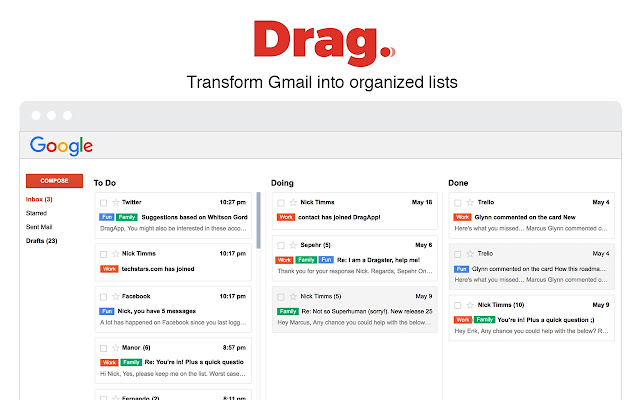 Transform your Gmail into organized Task Lists with Drag Chrome Extenstion