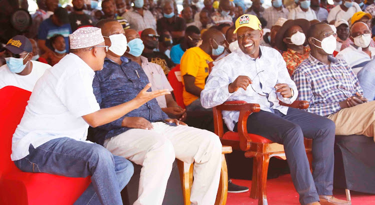 Garissa Township MP Aden Duale, Kwale Governor Salim Mvurya, Deputy President William Ruto and Turkana Governor Josephat Nanok during the thanksgiving ceremony for Msambweni MP Feisal Bader in Diani, Kwale county, on December 31, 2020.