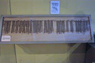 Photo: A larger quipu at the Regional History Museum in Ica, which as collection of elongated skulls, too.