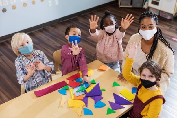 Children wear masks during classroom time.