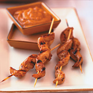Chicken Tenders Satay with Peanut Dipping Sauces.