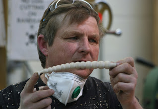 Photo: Mike likes to do steam bending, here he shows an example he brought in.