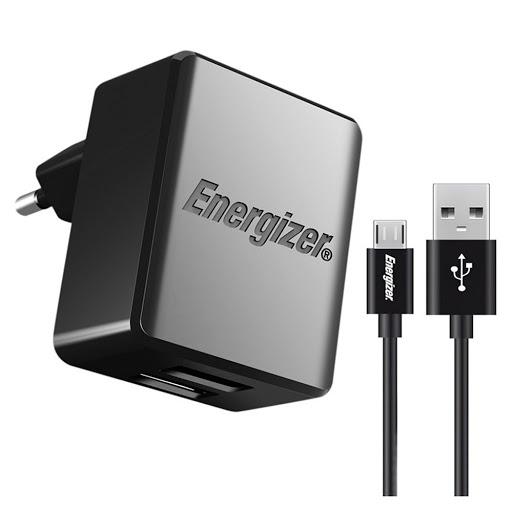 Sạc Energizer 2.4A 2x USB Kèm Cáp Micro USB - ACA2BEUHMC3 (Đen)-1