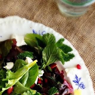 Winter's Salad of Dates, Pomegranate & Fresh Mozzarella.