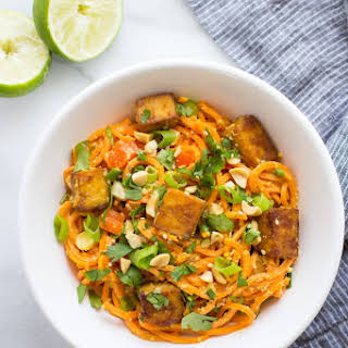 Thai Sweet Potato Noodles with Crispy Tofu.