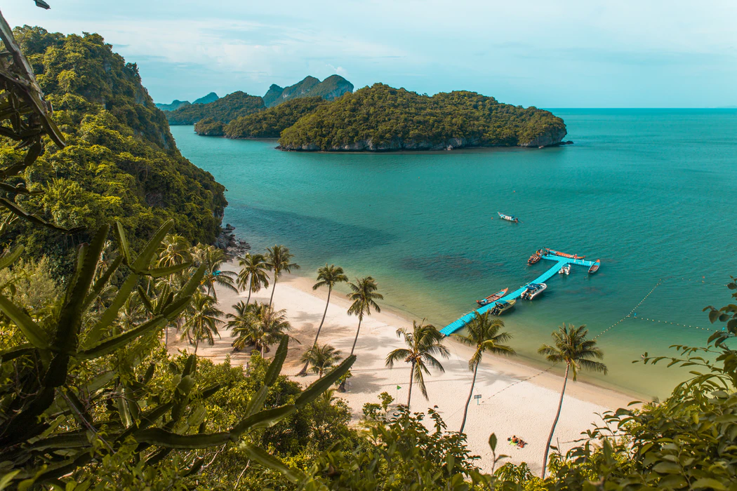 An aerial view of Ang Thong National Marine Park, a short boat ride away from Koh Samui.