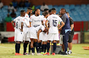 Cape Town City head coach Benni McCarthy in a discussion with his players during an Absa Premiership match against Mamelodi Sundowns at Loftus.