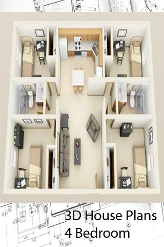 3D House Plans - 4 Bedroom- screenshot