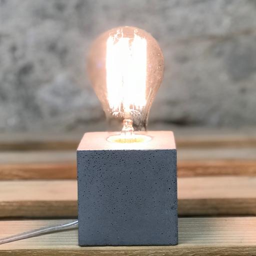 lampe béton cube gris clair fait-main création française