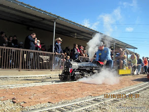 Photo: Pete Greene making steam as he starts to leave the station.     HALS Run Day DH3