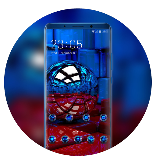 Theme for globe blue red cube fantasy wallpaper icon