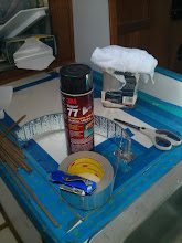 Photo: The ingredients for the initial round of ice box insulation.  The 3M Super77 spray glue worked well with the Reflectix insulation.  I used 3M aluminum tape to seal the joints.