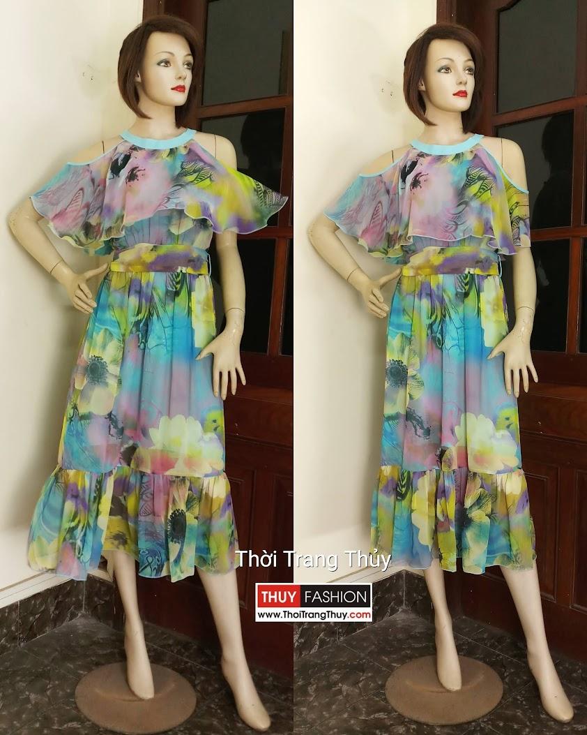 Váy maxi đi biển hở vai họa tiết hoa V603 tại Hải Phòng